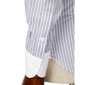 Maria Santangelo【マリアサンタンジェロ】ドレスシャツ BYRON PINS PIUMINO 100-120 F357109 15BB  コットン ストライプ クレリック ブルー×ホワイト cinqueclassico 06