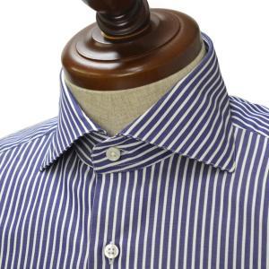 Maria Santangelo【マリアサンタンジェロ】ドレスシャツ VESVIO ENZO F33236 コットン ブロックストライプ ネイビー×ホワイト|cinqueclassico