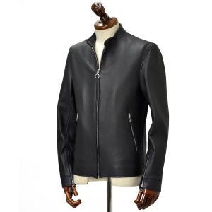 SERAPHIN【セラファン】 シングルライダースジャケット BIKER ANDY 120 31 CERF MARINE ディアスキン ネイビー|cinqueclassico