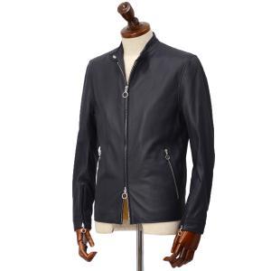 SERAPHIN【セラファン】 シングルライダースジャケット BIKER ANDY 129 00 CERF MARINE ディアスキン ネイビー cinqueclassico