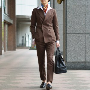 TAGLIATORE【タリアトーレ】ダブルスーツ G-DARREL P-BRENT 24UEZ084 M3086 コットン ソラーロ ブラウン|cinqueclassico|12