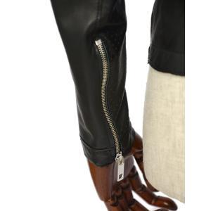 TAGLIATORE【タリアトーレ】シングルライダースジャケット OLIVER DDE19-01 NERO ラムレザー パンチング ブラック cinqueclassico 06