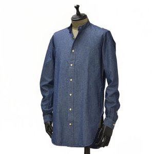 Bagutta【バグッタ】バンドカラーロングシャツ GABRI 06197 051 コットン デニム ウォッシュドブルー|cinqueunaltro