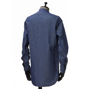 Bagutta【バグッタ】バンドカラーロングシャツ GABRI 06197 051 コットン デニム ウォッシュドブルー|cinqueunaltro|03