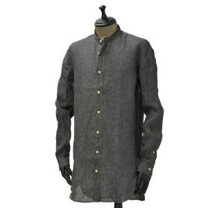 Bagutta【バグッタ】バンドカラーロングシャツ GABRI 06188 081 リネン グレー cinqueunaltro