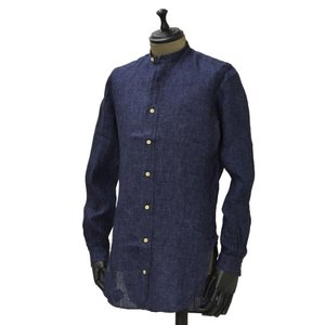 Bagutta【バグッタ】バンドカラーロングシャツ GABRI 06188 052 リネン ネイビー|cinqueunaltro