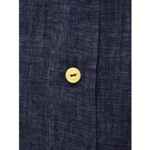 Bagutta【バグッタ】バンドカラーロングシャツ GABRI 06188 052 リネン ネイビー|cinqueunaltro|04