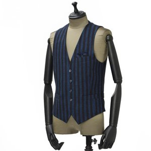 【送料無料】Giannetto【ジャンネット】シングルベスト/ジレ 5G498GL 004 cotton stripe BLUE BROWN(コットン ストライプ ブルー ブラウン)|cinqueunaltro