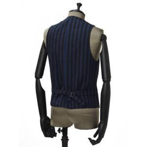 【送料無料】Giannetto【ジャンネット】シングルベスト/ジレ 5G498GL 004 cotton stripe BLUE BROWN(コットン ストライプ ブルー ブラウン) cinqueunaltro 02