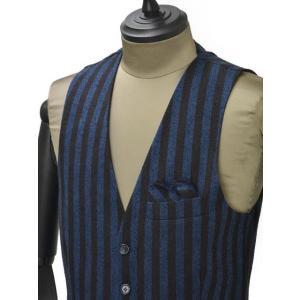 【送料無料】Giannetto【ジャンネット】シングルベスト/ジレ 5G498GL 004 cotton stripe BLUE BROWN(コットン ストライプ ブルー ブラウン) cinqueunaltro 03