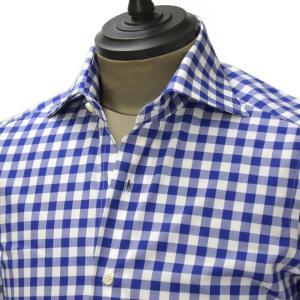 Giannetto【ジャンネット】ドレスシャツ SLIM FIT 6B18300L66 009 blue label コットン ポプリン ギンガムチェック ブルー ホワイト cinqueunaltro