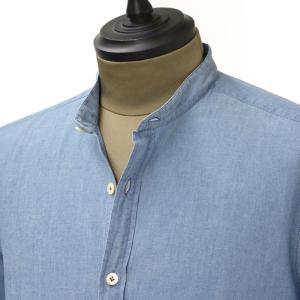 Giannetto【ジャンネット】バンドカラーシャツ VINCI FIT 6G35437 VLU 001 コットン ウォッシュド デニム|cinqueunaltro