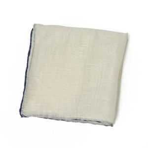 DOLCEPUNTA【ドルチェプンタ】  ポケットチーフ FAZZOLETTO PF1603 1 linen  WHITE NAVY (リネン ホワイト ネイビー)|cinqueunaltro