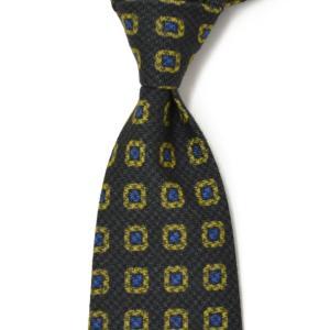 DOLCEPUNTA【ドルチェプンタ】  コットンタイ A1661 4 silk pattern GREY BLUE (コットン 小紋柄 グレー/ブルー)|cinqueunaltro