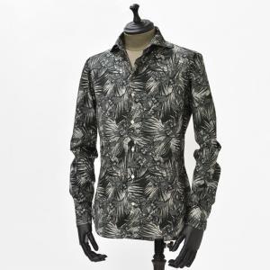 【送料無料】Gabriele Pasini【ガブリエレ パジーニ】 プリントシャツ JG4CM5 G4208 5 cotton botanical print(コットン ボタニカル柄 ブラック ホワイト)|cinqueunaltro