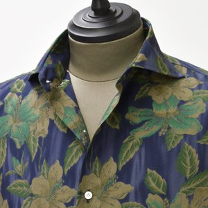 【送料無料】Gabriele Pasini【ガブリエレ パジーニ】 プリントシャツ JG4CM5 G4210 1 cotton hibiscus print(コットン ハイビスカスプリント パープルグリーン)|cinqueunaltro