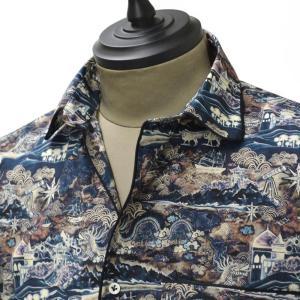 【送料無料】Gabriele Pasini【ガブリエレ パジーニ】パジャマシャツ JG7CM8C G7222 297 cotton print NAVY( コットン プリント ネイビー)|cinqueunaltro