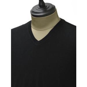 PAOLO PECORA【パオロペコラ】無地Vネックカットソー C1MA0071  6350 9000 cotton BLACK(コットン ブラック)|cinqueunaltro|03