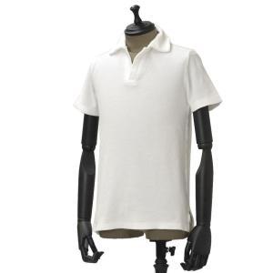 THE GIGI【ザ ジジ】 パイル地スキッパーポロシャツ THAITI D830 200 cotton WHITE(コットン ホワイト)|cinqueunaltro