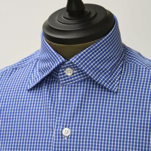 【size37,38,39】Mario Musucariello【マリオムスカリエッロ】 ドレスシャツ ZEUS 25.2 cotton check BLUE×WHITE(チェック コットン ブルー×ホワイト)|cinqueunaltro