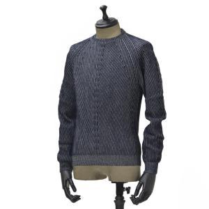 【送料無料】HERITAGE【ヘリテージ】リブクルーネックニットH 0226 G78  02267 wool cashmere NAVY GREY(ウール カシミア グレー ネイビー)|cinqueunaltro