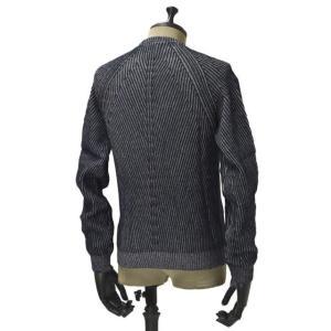 【送料無料】HERITAGE【ヘリテージ】リブクルーネックニットH 0226 G78  02267 wool cashmere NAVY GREY(ウール カシミア グレー ネイビー)|cinqueunaltro|02