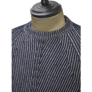 【送料無料】HERITAGE【ヘリテージ】リブクルーネックニットH 0226 G78  02267 wool cashmere NAVY GREY(ウール カシミア グレー ネイビー)|cinqueunaltro|03