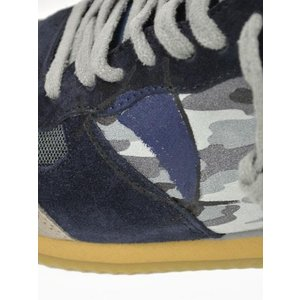 【送料無料】PHILIPPE MODEL【フィリップモデル】 スニーカー Specia Classic SPLU CX01  suede nylon  leather camouflage GREY NAVY (スエード ナイロン)|cinqueunaltro|05