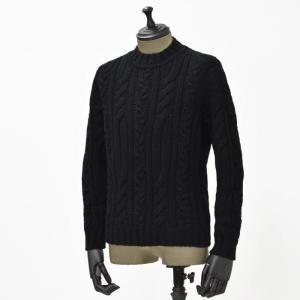 【送料無料】GRAY【グライ】ケーブルクルーネックニット KURTIS 319 1 wool BLACK(ウール ブラック)|cinqueunaltro