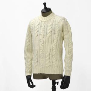 【送料無料】GRAY【グライ】ケーブルクルーネックニット KURTIS 319 6 wool ECRU(ウール エクリュ)|cinqueunaltro