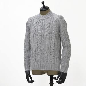 【送料無料】GRAY【グライ】ケーブルクルーネックニット KURTIS 319 4 wool SILVER(ウール グレー)|cinqueunaltro
