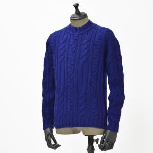 【送料無料】GRAY【グライ】ケーブルクルーネックニット KURTIS 319 183 wool CASMOS(ウール ネイビーブルー)|cinqueunaltro