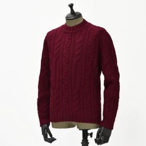 【送料無料】GRAY【グライ】ケーブルクルーネックニット KURTIS 319 16 wool CLARET(ウール ワインレッド)|cinqueunaltro