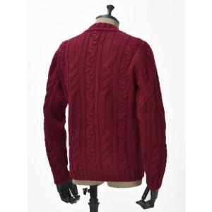 【送料無料】GRAY【グライ】ケーブルクルーネックニット KURTIS 319 16 wool CLARET(ウール ワインレッド)|cinqueunaltro|02