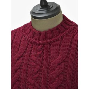 【送料無料】GRAY【グライ】ケーブルクルーネックニット KURTIS 319 16 wool CLARET(ウール ワインレッド)|cinqueunaltro|03