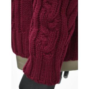 【送料無料】GRAY【グライ】ケーブルクルーネックニット KURTIS 319 16 wool CLARET(ウール ワインレッド)|cinqueunaltro|04