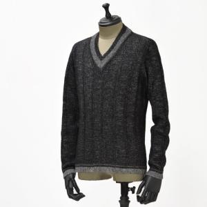 【送料無料】GRAY【グライ】Vネックニット TERENCE 418  wool BLACK SILVER(ウール ブラックシルバー)|cinqueunaltro
