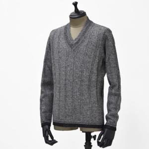 【送料無料】GRAY【グライ】Vネックニット TERENCE 416  wool GREY SILVER(ウール グレーシルバー)|cinqueunaltro