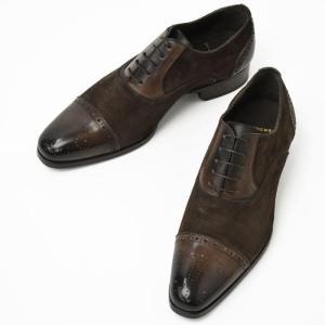 【送料無料】MAX VERRE【マックス ヴェッレ】 コンビレザーセミブローグストレートチップシューズ MV999 calf leather and suede DAINO/BARON AYALA|cinqueunaltro