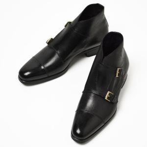 【送料無料】MAX VERRE【マックス ヴェッレ】 ダブルモンクストラップブーツ MV923 grain leather SANTOS BLACK(グレインレザー ブラック)|cinqueunaltro