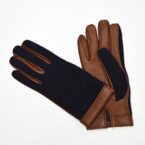 【送料無料】MEROLA【メローラ】手袋/グローブ ME429002 cashmere lamb leather NAVY TAN(カシミヤ ラムレザー ネイビー タン)|cinqueunaltro