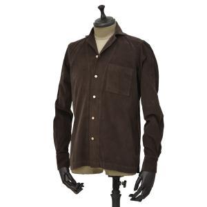 Bagutta【バグッタ】オープンカラーシャツ ALOHAK 08380 071 コットン コーデュロイ ダークブラウン cinqueunaltro