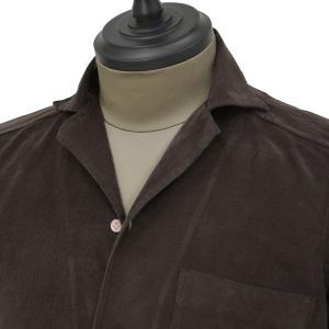 Bagutta【バグッタ】オープンカラーシャツ ALOHAK 08380 071 コットン コーデュロイ ダークブラウン cinqueunaltro 02