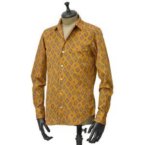 Bagutta【バグッタ】オープンカラーシャツ JOHNNY_GLR 09088 620 コットン ジオメトリック マスタード|cinqueunaltro