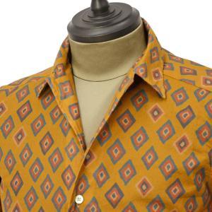 Bagutta【バグッタ】オープンカラーシャツ JOHNNY_GLR 09088 620 コットン ジオメトリック マスタード|cinqueunaltro|02
