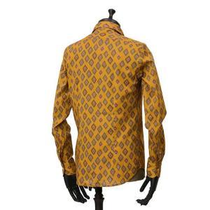 Bagutta【バグッタ】オープンカラーシャツ JOHNNY_GLR 09088 620 コットン ジオメトリック マスタード|cinqueunaltro|03