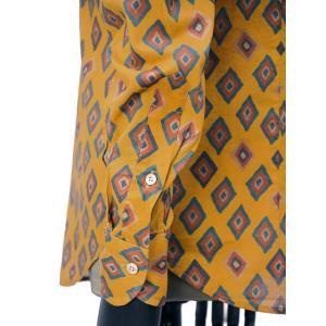 Bagutta【バグッタ】オープンカラーシャツ JOHNNY_GLR 09088 620 コットン ジオメトリック マスタード|cinqueunaltro|05