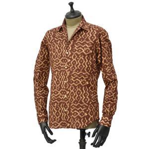 Bagutta【バグッタ】オープンカラーシャツ JOHNNY_GLR 09089 670 コットン ネイティブ ブラウン|cinqueunaltro