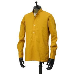 Bagutta【バグッタ】バンドカラープルオーバーシャツ PATMOS_GL 09064 020 コットン マスタード|cinqueunaltro