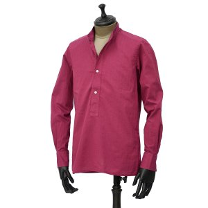 Bagutta【バグッタ】バンドカラープルオーバーシャツ PATMOS_GL 09064 020 コットン マゼンダ|cinqueunaltro